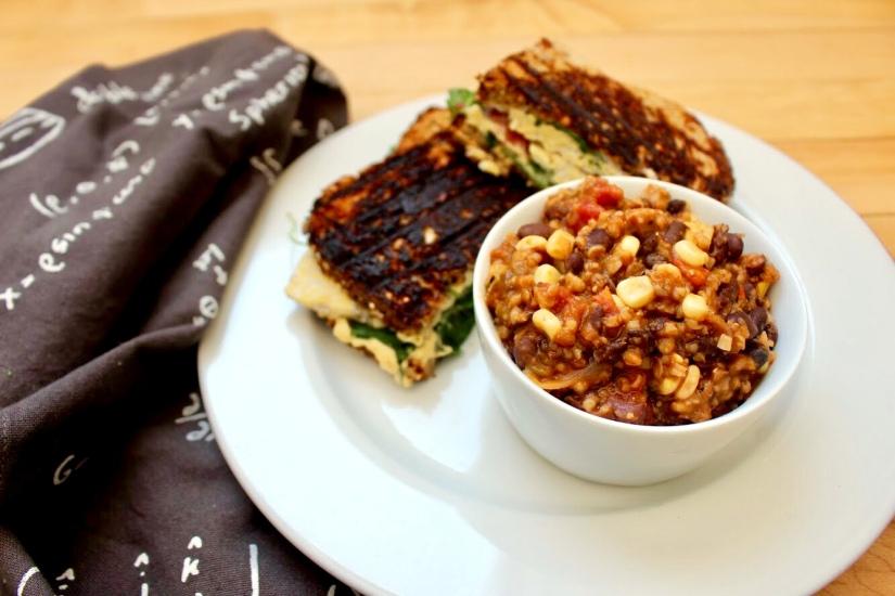 Black Bean Chili + TempehSandwich