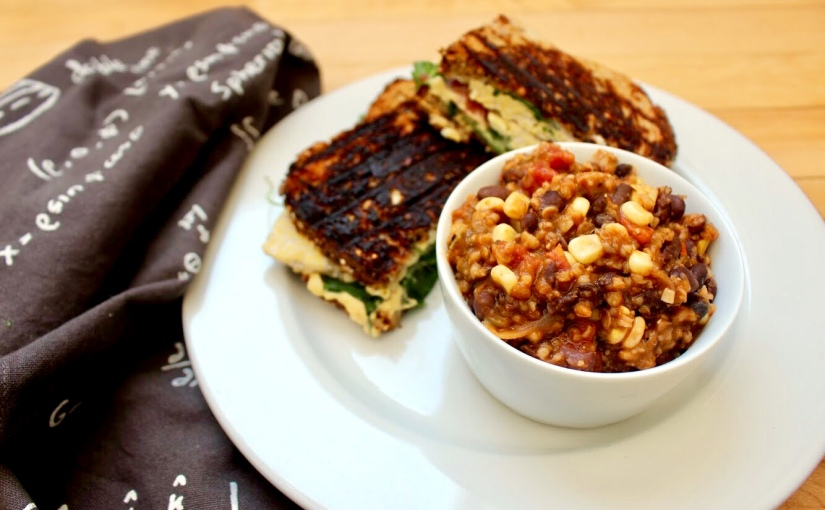 Black Bean Chili + Tempeh Sandwich