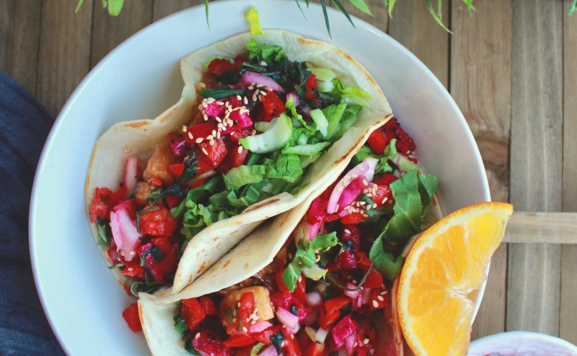 Orange Ginger Tofu Tacos with Dragon Fruit Sweet 'n' Sour Salsa