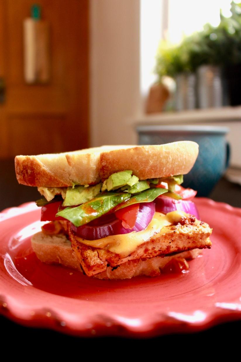 Easy Marinated Tofu BreakfastSandwich